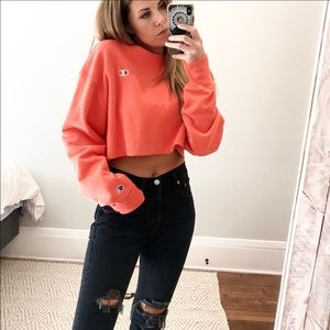 Champion Cropped Sweater Reverse Weave Small